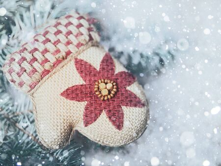 christmas backgrounds: Santa mittens. Abstract Christmas backgrounds Stock Photo