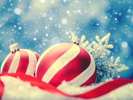 christmas fun: Beauty Xmas backgrounds with red striped decoration ball