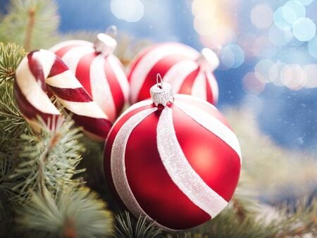 blue christmas background: Beauty Xmas backgrounds with red striped decoration ball