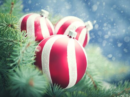 christmas blue: Beauty Xmas backgrounds with red striped decoration ball