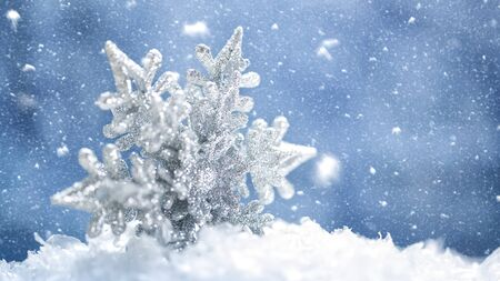 flakes: Beauty holidays banner with snow flake and beauty bokeh Stock Photo