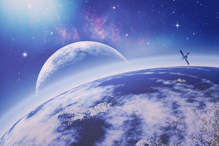 通信: On the Earth orbit. Universe. Abstract science backgrounds.