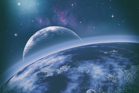 orbits: Earth orbit. Universe. Abstract science backgrounds.