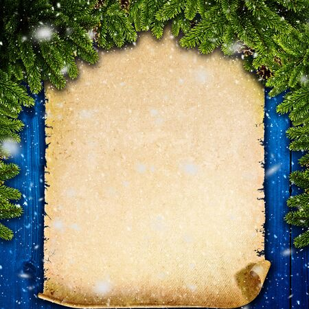 old backgrounds: Winter abstract backgrounds with vintage parchment over old wooden desk