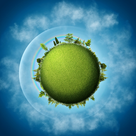 ecological environment: Green Earth. Abstract eco backgrounds over blue skies and clouds
