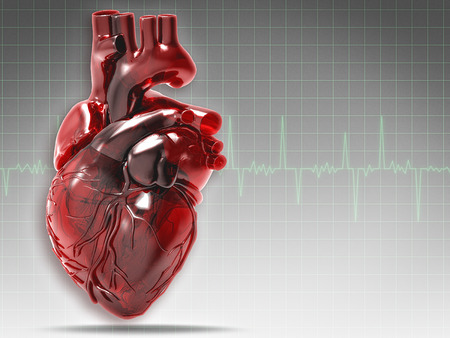 by pass surgery: Abstract medical and health backgrounds with human heart Stock Photo