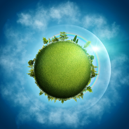 blue  backgrounds: Green Earth. Abstract eco backgrounds over blue skies and clouds