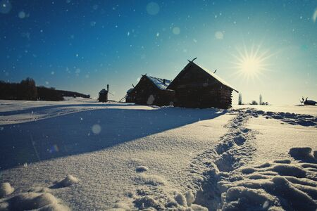 blue christmas: Beauty winter in the village, abstract seasonal backgrounds