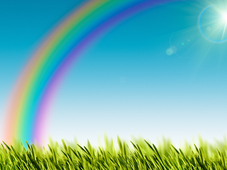 Funny rainbow over the summer meadow, natural backgrounds