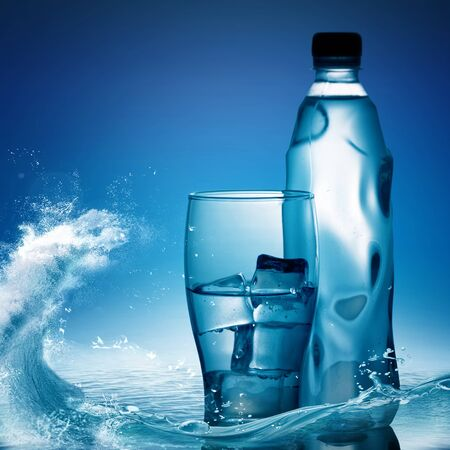 two object: Pure mineral water against ocean surface, healthy life concept Stock Photo