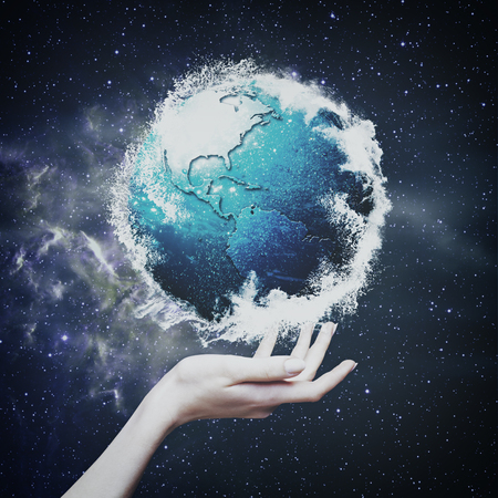 universe: Earth globe against  starry backgrounds, environmental concept Stock Photo