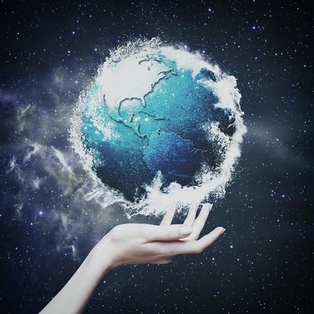 stargaze: Earth globe against  starry backgrounds, environmental concept Stock Photo