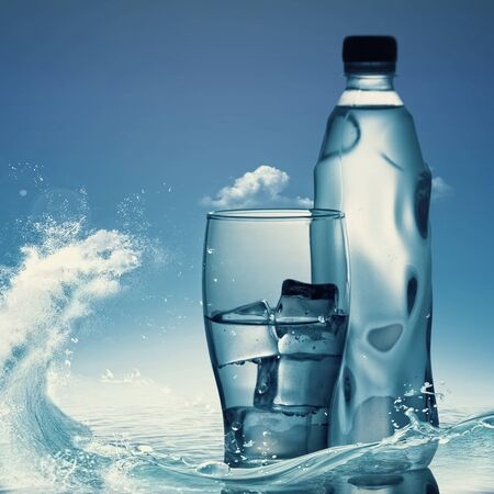 Pure mineral water against ocean surface, healthy life concept