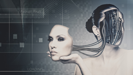 biomechanical: Future technology and science, female portrait for your design