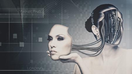 La tecnología del futuro y de la ciencia, retrato femenino para su diseño Foto de archivo