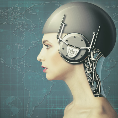 robot girl: Cyborg woman, abstract science and technology backgrounds