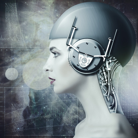 biomechanical: Cyborg woman, abstract science and technology backgrounds
