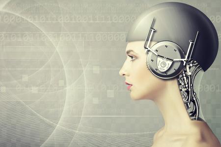 Cyborg vrouw, abstracte wetenschap en technologie achtergronden Stockfoto