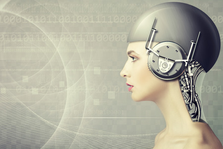 Cyborg woman, abstract science and technology backgrounds 版權商用圖片 - 58592123