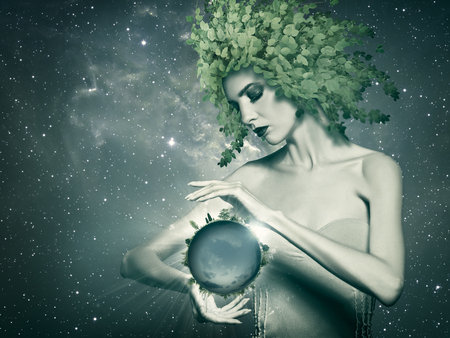 Holding the Planet, abstract eco backgrounds with beauty female portrait