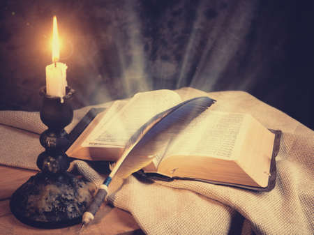 sconce: Old fashioned backgrounds with opened Holy Bible