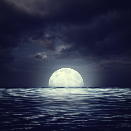 deep sea diver: Sea surface under night stormy skies, abstract natural backgrounds