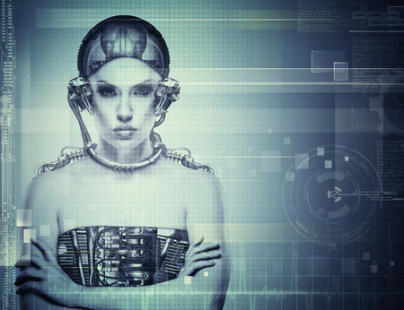bionics: Techno female portrait. Science and technology concept