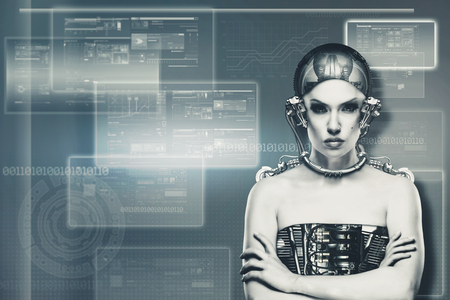 cyborg: Techno female portrait. Science and technology concept