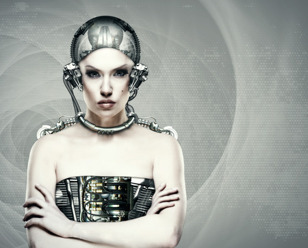 cyborg: Cyborg woman, abstract science and technology backgrounds