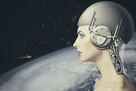 biomechanical: Cyborg woman, abstract science and technology backgrounds.