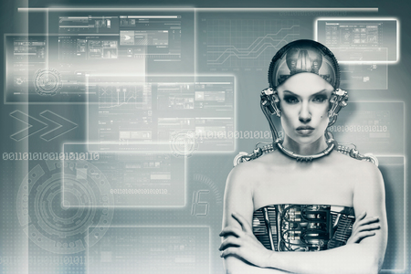 biomechanical: Techno female portrait. Science and technology concept
