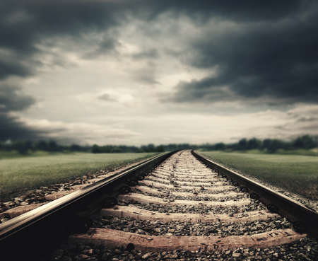 industry moody: Dramatic railroad. Abstract transportation and tourism backgrounds