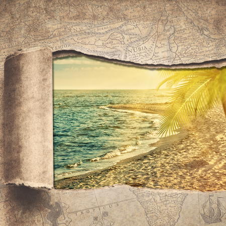 travel backgrounds: Travel and adventure backgrounds with vintage map and beautiful places Stock Photo