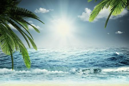 olas de mar: Hermoso mar, fondos de viaje de verano con las olas del mar, palmeras y cielo