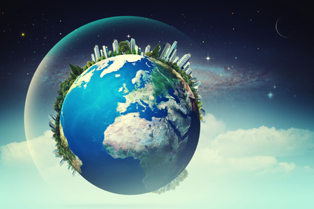 Planeet in de lucht, eco achtergronden met grappige Aarde tegen sterrenhemel