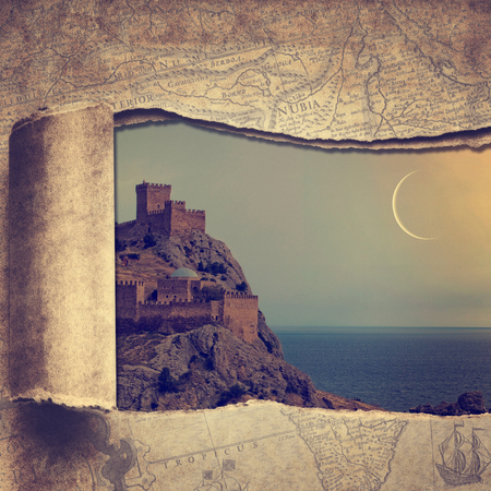 travel backgrounds: Travel and adventure backgrounds with vintage map and beautiful castle
