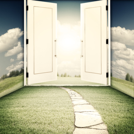 transcendental: The door to another world, sci-fi and religion backgrounds
