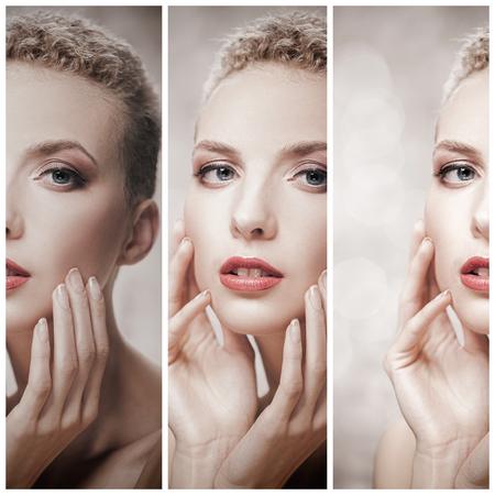 Regarde. concept de beauté de soins de la peau portrait féminin