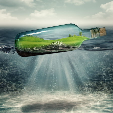 deep water: World inside the bottle, abstract eco backgrounds with sea deep