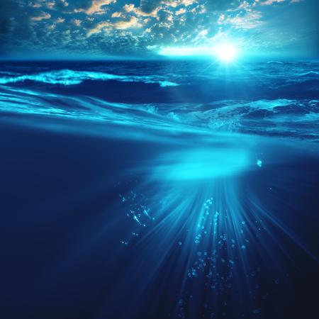 underwater ocean: Deep ocean, marine backgrounds with waves and sea surface