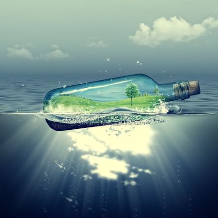 World inside the bottle, abstract eco backgrounds with sea deep