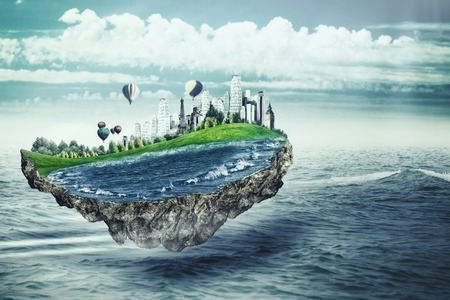 heaven background: Flying island. Eco concept with fantastic island over sea surface