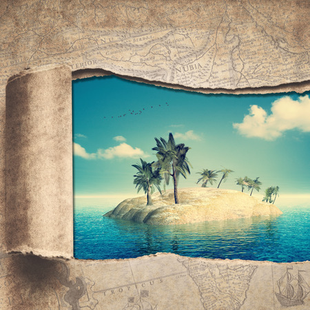 travel backgrounds: Travel and adventure backgrounds with vintage map and beautiful tropical island