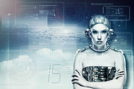 Modified human, female portrait with computer code page as background