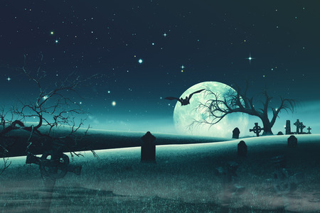 old backgrounds: Abstract Halloween backgrounds with old cemetery and full Moon