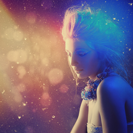 northern light: Northern Lights. Beauty female portrait with abstract light as backgrounds