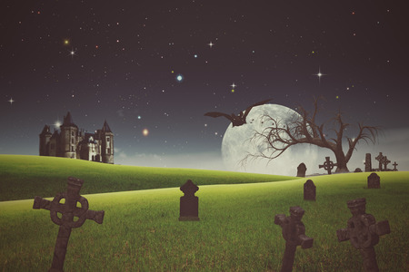 old backgrounds: Halloween backgrounds with old cemetery and abandoned castle