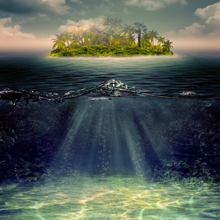 Beauty island in the ocean, abstract marine landscape