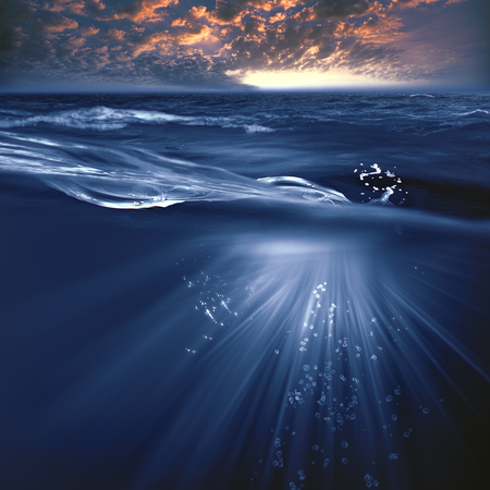 Stromy ocean, beauty marine landscape with water wave and evening skies