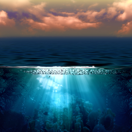 Abstract marine backgrounds with sun beam and underwater landscape